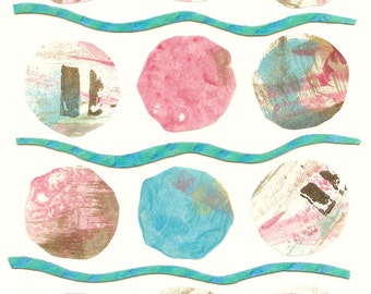 Original Collage Pink and Turquoise Circles with Bands
