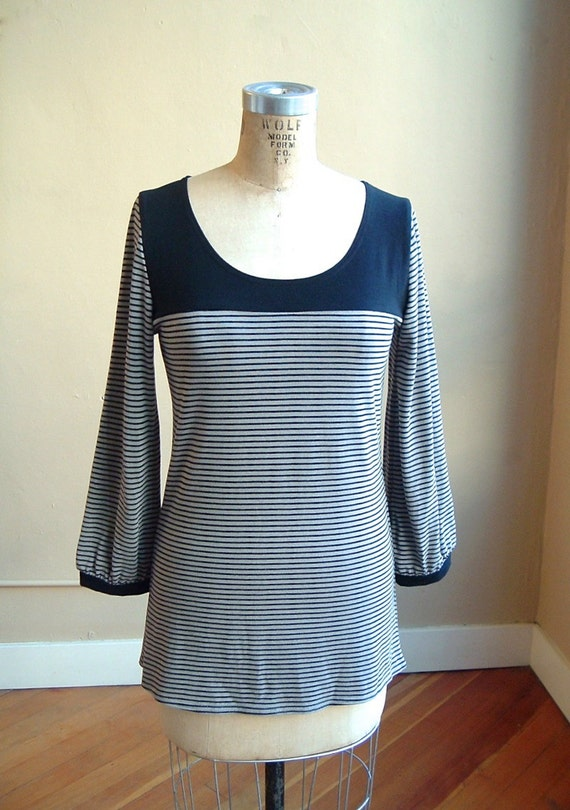Stripe Top Black and Gray Bamboo Jersey, tunic style, modern minimal- made to order