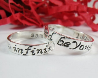 To Infinity and Beyond Hand Stamped Rings - Sterling Silver 4mm x 1mm Ring Set -His Her Couple Set - Best Friends