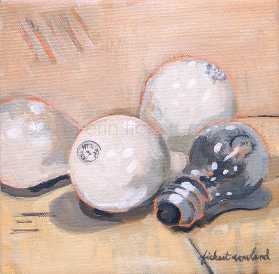Modern Still Life Light Bulb Painting- Ideas with Potential- Original Oil on Canvas by Erin Fickert-Rowland
