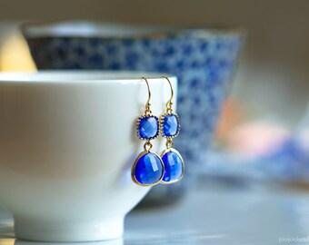 Cobalt blue earrings, Cobalt blue jewelry, Indigo earrings, Navy blue earrings, Cerulean jewelry, Bridesmaids gift, Blue sapphire earrings