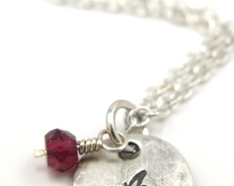 Apple - sterling silver necklace with garnet - inspirational jewelry - great teacher gift