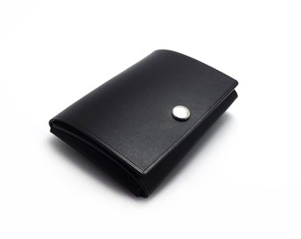 Simple Fold Leather Wallet, Black, Minimalist, Practical, Compact, Small, Mens Leather Wallet, Handmade on Etsy by Sakao