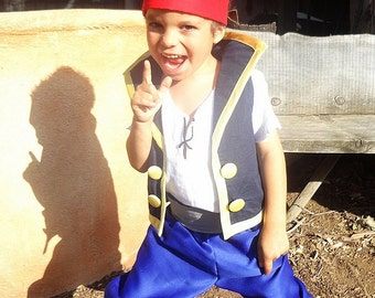 Jake Costume From the Neverland Pirates Child Size Blue Pirate Vest High Collar Blue Breeches Red Bandana scarf White Pirate Shirt