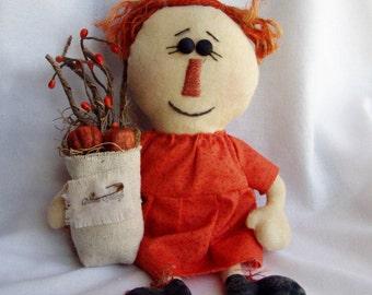 Primitive Raggedy Doll Autumn Orange by Happy Valley Primitives