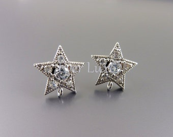 2 Clear crystal Cubic Zirconia CZ star brass stud earrings with sterling silver posts for jewelry making 1735-BR (bright silver, 2 pieces)