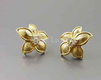 2 Flower with 5-pointed petal earrings, matte gold earrings with CZ Cubic Zirconia, earrings / jewelry 1389-MG (matte gold, 2 pieces)