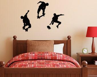 Skateboarder Wall Decal - Set of Three - Boy Bedroom Wall Sticker
