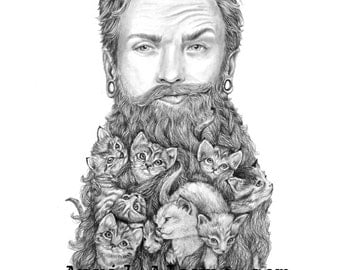 Kitten Beard - Illustration- 8 X10-signed print-man- portrait- cat-fathers day