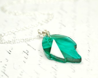 Emerald Green Leaf Crystal Necklace, Teal Green Swarovski Crystal Pendant, Simple Everyday Wire Wrap Jewelry