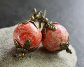 Red Stone Bead Earrings - A.930