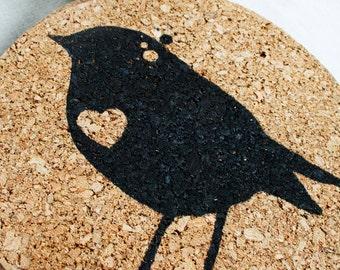 Bird Trivet - Eco-Friendly Cork Trivet - Housewares - Kitchen - Cooking - Gift