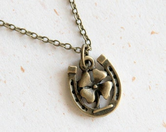 Horseshoe Necklace (N328)  with lucky clover in vintage brass color