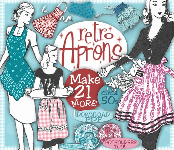 10 Things to Do with Vintage Aprons 1950s Apron Patterns $3.99 AT vintagedancer.com