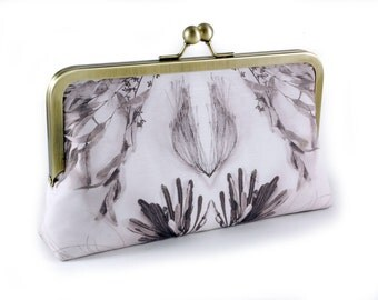 Vintage wedding bridal clutch with botanical print with 8 inch frame and silk lining
