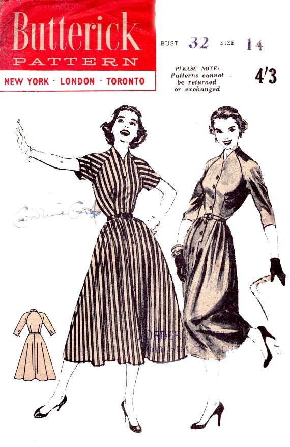 Butterick 6805 Vintage 1950s Sewing pattern Full Skirt Dress 50s Size 14 Bust  32