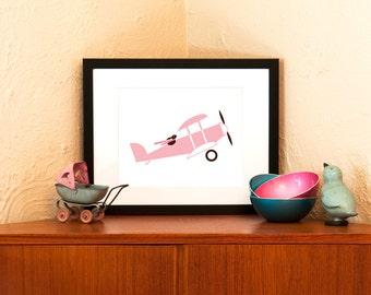 Aviator Bunny Art Print in Pink - Sweet 8 x 10 Nursery Wall Decor (Free Shipping in US)
