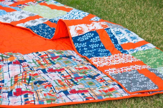 Twin Quilt - Handmade, Patchwork - Modern, Nautical, Ocean, Beach - Starfish, Sand Dollar, Bottlecaps, Crabs, Plaid, Kelp - Lap Quilt