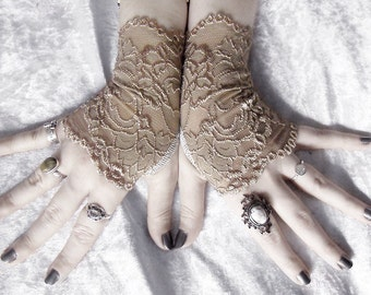 Cyzarine Lace Fingerless Glove Mittens | Gold Champagne Tan Floral | Gothic Vampire Victorian Wedding Belly Dance Goth Bridal Mori Girl Ecru