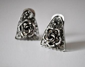 Silver Filigree Rose Earrings