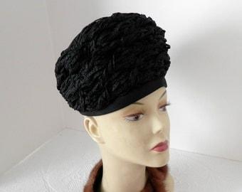 Vintage Black Straw Hat- Original Hat by Chesterfield- Toque Style Ladies Black Hat- Designer Mid Century Hat