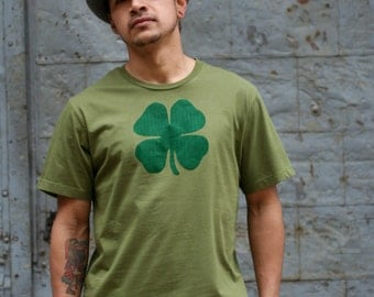 Men's Green Irish Shamrock T-Shirt, Ireland Tee Shirt, Shamrock , alternative apparel
