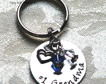 For Grandma - Hand stamped sterling silver keychain
