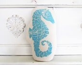 Plush Seahorse Pillow. Hand Block Printed. Choose ANY Color. Made to Order.