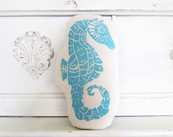 Seahorse ShapeAnimal Pillow. Hand Block Printed. Choose ANY Color. Made to Order.