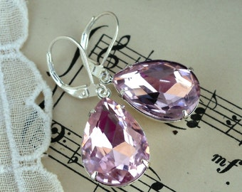 Ballet Pink, Estate Style Pale Rose Pink Vintage Pear Shaped Jewel Silver Plated Earrings, Hollywood Hillbilly