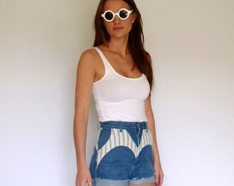 80s Striped Mixed Print Roper High Waist Blue Jean Shorts xs s