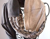 Handmade Up-cycled black, white, and gray T-shirt  infinity scarf accented with black thread and multiple pockets