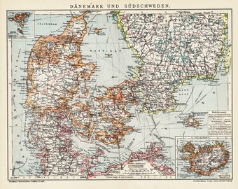 1908 edwardian  DENMARK and SOUTHERN SWEDEN map, Jutland, Zealand, fyn, Kristianstad, Malmohus, Götarike. 104 years Old lithograph print.