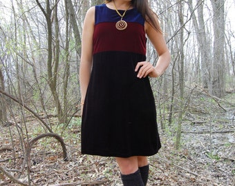Vintage 90s Velvet Colorblock Mini Tank Dress Blue Burgundy Black Small Medium