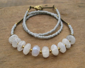 White Moonstone Necklace, simple rustic gray and gold beaded jewelry, dainty everyday Bohemian necklace