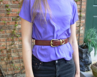 Vintage 80's bright purple blouse size medium m