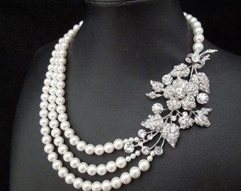 Ivory Swarovski pearl necklace Bridal Pearl Necklace wedding Necklace crystal necklace Statement Bridal Necklace Rhinestone Necklace DARCIE