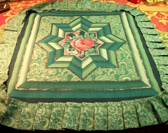 Teal green turquoise fabric & handmade pleated ruffle trim sewing craft supplies for pillows