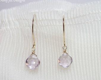 Pink Amethyst Earrings, Cushion Cut Diamond Shape, Wire Wrapped, Pink Gemstone Jewelry