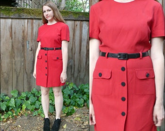 Vintage Little Red Dress / 80s does 40s Dress / Dick Tracy Dress / Short Red Dress S M