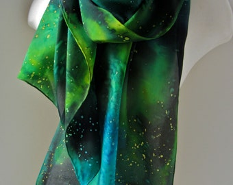 Made to order: galaxy silk scarf in emerald tones