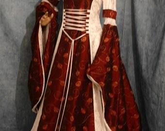 Renaissance dress, handfasting dress, medieval dress, winter wedding gown, custom made