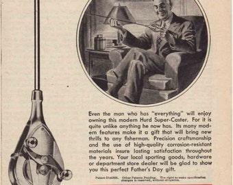 "Say ""Happy Father's Day"" With This Great Vintage Fishing Advertisement:  The Hurd Super Caster Digital Download"