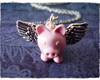 Pink Flying Pig Necklace - Pink Enameled Resin Flying Pig Charm on a Delicate Silver Plated Cable Chain or Charm Only