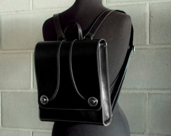 Backpack purse, black leather purse, retro satchel rucksack - the Raya