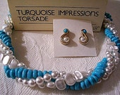 Pearls Blue Bead Necklace Choker Pierced Stud Earrings Gold Tone Vintage Avon 1983 Turquoise Impressions Torsade Twisted Strand Barrel Clasp
