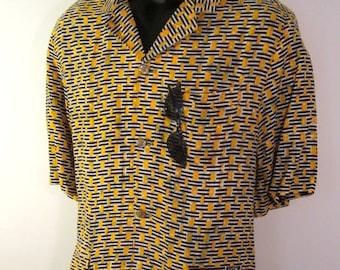 mens tribal shirt / mens batik shirt / honeymoon shirt