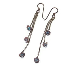 Mixed Metal Jewelry Aquamarine Earrings Long Dangle Chain Bohemian