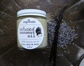 Free Shipping- Lavender/Vanilla Infused Coconut Oil, Organic, for body, hair, baby, face