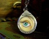 Hand Painted Lover's Eye Necklace - Replica Georgian / Victorian Jewelry - Artistry to Alchemy